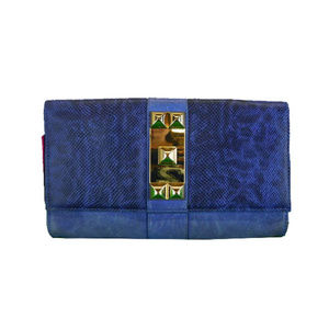 VINCE CAMUTO Blue Snake Print Clutch Bag$148.00